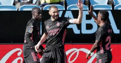 Karim Benzema scored for a sixth consecutive game as his double helped Real Madrid to a 3-1 win over Celta Vigo in La Liga.
