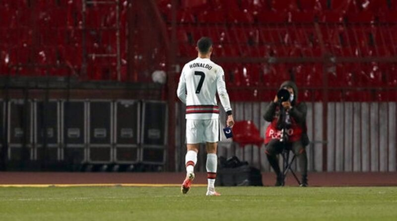 Cristiano Ronaldo: Captain's armband thrown away in Serbia match sells at auction for more than £50,000