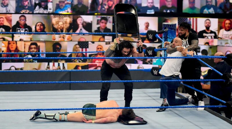 Reigns bars Bryan from SmackDown and hits him with a post-match Con-Chair-To