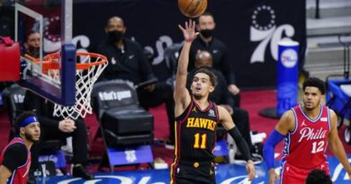 Trae Young scored 35 points as the Atlanta Hawks beat the Philadelphia 76ers 128-124 in the opening game of their NBA play-off series.