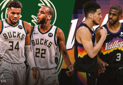 The Milwaukee Bucks and the Phoenix Suns will battle it out for the 2021 NBA title After a long but entertaining season, the NBA Finals are finally here. The Phoenix Suns will take on the Milwaukee Bucks in the best-of-seven series, beginning on Tuesday evening in the United States (02:00 BST in the UK). At the start of the regular season many people would have expected a LeBron James v Kevin Durant showdown between the Los Angeles Lakers and the Brooklyn Nets but after injuries to a host of big names, the stage has been set for new, up-and-coming talent to make waves. Phoenix Suns Chris Paul joined the Phoenix Suns from the Oklahoma City Thunder in 2020 The Suns may not have been a favoured team to make it to the Finals when the season started in December, but the signs of progress had been there. They had an impressive end to the 2019-20 season, as a Devin Booker-inspired team won eight straight games in the NBA bubble, just missing out on the play-in tournament. The off-season proved pivotal. The Suns traded for All-Star point guard Chris Paul, who had lead the Oklahoma City Thunder to the play-offs a season earlier. It was their biggest trade since acquiring Charles Barkley before the 1992-93 season, the last time the Suns reached the NBA Finals. With franchise star Booker now alongside an elite point guard in Paul, it set the tone for an all-action team ready to make a run at the play-offs. Before now, Paul's 16 years in the league hadn't resulted in a visit to to the Finals. He came close with the Houston Rockets in 2019, going 3-2 up in the Western Conference finals against eventual champions the Golden State Warriors. Paul was forced to miss out on their final two games through injury and looked set for one of the most illustrious NBA career's without a chip to match - until now. He picked up the biggest scoring half of his career in the Suns' closeout semi-final game against the LA Clippers - 31 of his 41 points coming in the second half. Chris Paul's shoe 