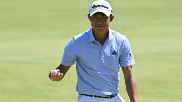 Collin Morikawa stormed through the field to set the clubhouse lead on nine under par at The Open on a gloriously sunny day at Royal St George's.