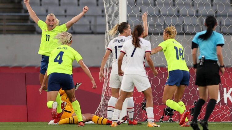 """United States forward Megan Rapinoe said they """"got bopped"""" and did """"dumb stuff"""" as they lost their opening match to Sweden at the Olympic Games."""