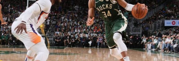 Giannis Antetokounmpo played down comparisons to Michael Jordan after making history in helping the Milwaukee Bucks to a crucial win over the Phoenix Suns in the NBA Finals.